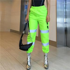 منتصف الخصر المرقعة الشحن سروال فضفاض بارد سروال رصاص أزياء المرأة السببية الملابس النسائية عاكس سروال