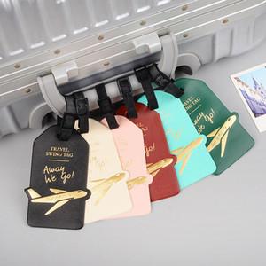 Seyahat Aksesuarları Yaratıcı Aircraft PU Deri Bagaj Etiketi Kadınlar Erkekler Taşınabilir Etiket Çanta Kimliği Adres Tutucu Bagaj Yatılı