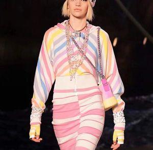 1.10 2019 Весна бренд же стиль из двух частей наборы выше колена полосатый молния Империя женские платья с длинным рукавом дизайнер Цянь