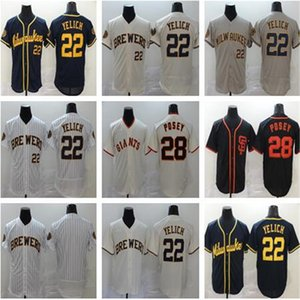 Hommes 2020 nouveau 22 Christian Yelich 28 Buster Posey 35 Brandon Crawford 40 Madison Bumgarner Baseball Maillots
