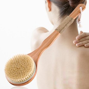 Mane Swine seco Escova Natural Skid Tratamento de madeira Massagem Corporal Saúde escova de banho Body Wash Scrub limpa Escova esfoliante corporal