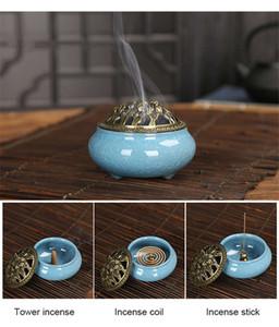 Incense Cones  Sticks coil Burner Black Glaze Disc Censer Ice crack Burner Ceramic Incense holder for Indoor Yoga Spa Home Decor