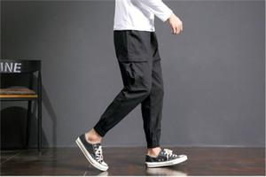 Homens Primavera Harem Pants Homens Multi Bolso Hip Hop Corredores Dos Homens Plus Size Carga Calças Casuais Calças Dos Homens Soltos Asiático tamanho 5XL-M Preto venda