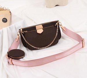Lieblingsmulti Pochette Accessoires Handtasche aus echtem Leder L Blume Schulter Umhängetasche Damen Geldbeutel 3 Stück Geldbeutel