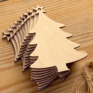 DIY naturel Chip Arbre de Noël en bois Hanging ornements Pendentif Cadeaux enfants Bonhomme de neige arbre de Noël Forme Ornements Décorations 10 Styles Choisissez