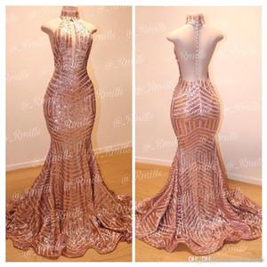 2019 Sparkly Rose Gold Lantejoulas Sereia Vestidos de Baile Longo Sexy Halter Keyhole Neck Backless Formal Vestidos de Noite Do Partido robes de soirée BC0561
