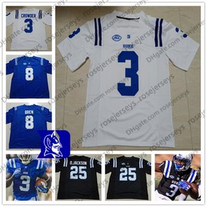 NCAA Duke Blue Devils Football # 3 TJ Rahming 18 Квентин Харрис 22 Бриттен Браун 25 Деон Джексон Мужчины Молодежный Малыш Черный Белый Джерси