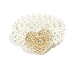 2020 New Ladies Wide Elastic Stretch Pearl Chain Belt Waist Women Rhinestone Crystal Heart Buckle Belts for Wedding Dress Cintos