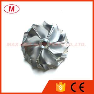 TD04HL 43.75 / 57.25mm 6 + 6 palas Forward Turbo Billet Compresor rueda / Aluminio rueda del compresor 2618 / fresado para turbocompresor