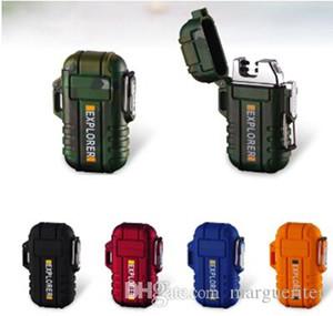 Wasserdichte Doppel Arc Feuerzeug-windundurchlässige USB-Lade elektronische Zigarette Feuerzeug der neuen Art-Metall-Tarnung Feuerzeuge mit Seil-Geschenkbox