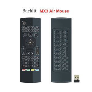 Retroilluminato MX3 Fly Air mouse mini tastiera IR Learning 2.4GHz asse della radio 6 Remote Control per Android TV Box PC Meglio