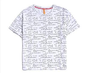 티셔츠 남성 패션 수학 공식 인쇄 라운드 티셔츠 칼라 옴므 짧은 탑 남성 디자이너 인쇄