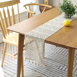 Crochet Flower Hollow Lace Table Runner with Tassel for Wedding Tablecloth Burlap Table Flag