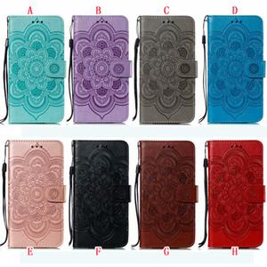 Mandala de la flor de cuero de la carpeta para Iphone 11 MAX PRO 6.5 5.8 6.1 Xiaomi redmi 7A K20 Samsung Galaxy Note 10 Pro en relieve de la tarjeta de la cubierta de piel