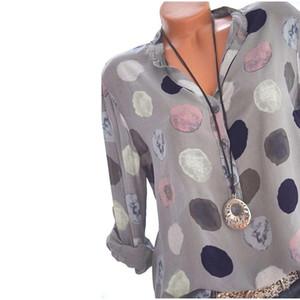 Plus Size partes superiores das mulheres e blusas Dot Impresso Long Sleeve Ladies Escritório shirt Sexy V pescoço solto Blusa Hot Summer Autumn Blusas