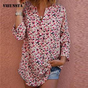 Vieunsta 5xl Otoño Mujer Camisa Blusa de manga larga con estampado floral Botón sexy Cuello en v Tops y blusas para mujer Femme Tallas grandes Blusa SH190821