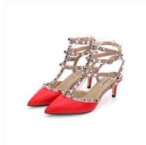 Weiblich 2020 Sommer Sandalen neue Web-Berühmtheit Joker Niet Spitze Sandalen fein mit baotou Schuhe mit hohen Absätzen Brautjungfer Schuhe