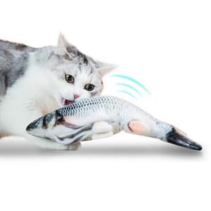 Das Kauen Spielen Plüsch Interactive Geschenk Katzenminze Katze-Spielzeug Elektronische Haustier-Katze-Spielzeug Elektro-USB-Lade Simulation Fisch Spielzeug für Hunde