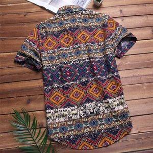 Mens пляжа гавайке Tropical Summer хлопка с коротким рукавом рубашки Мужчины Марка Повседневный Сыпучие хлопка кнопки вниз рубашки плюс размер 5XL