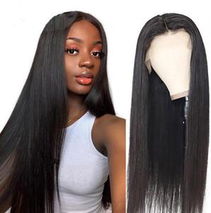 13x6 vague de corps droite perruques avant de dentelle Cheveux Pré plumé 13x4 Transparent Dentelle Frontal Perruques brésilien Remy Perruques pour les femmes noires