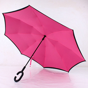 Creative Double Layer Pongee Waterproof Reverse Folding Umbrella Creative Foldable C-type Sun Protection Portable Umbrella DH0881 T03