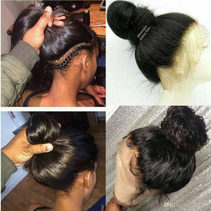 360 Dantel Frontal Peruk ile Bebek Saç% 100 İnsan Peruk Brezilyalı Düz Saç Peruk Dantel Ön İnsan Saç İçin Siyah Kadınlar Ücretsiz nakliye