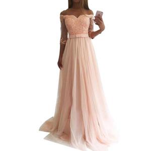 Abiti da damigella d'onore a vita alta con scollo a cuore Abiti da sposa lunghi in tulle rosa con applicazioni di paillettes Abito bridemaid