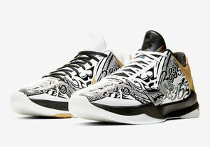 Zapatos de alta calidad Mamba V Protro gran escenario Lakers Caos baloncesto de los hombres Venta tienda en línea V Deportes zapatillas de deporte con la caja de envío libre Tamaño