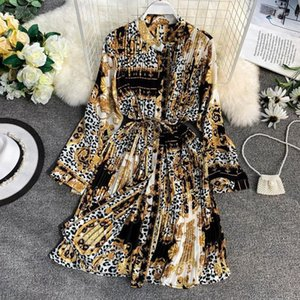 2020 Spring And Summer Womens Leopard Print Pleated Dress Long Sleeved Chiffon Shirt Dress Lace Loose Fashion Dress Large Size