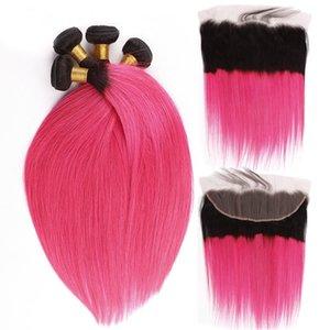 두 배로 짠 뜨거운 핑크 버진 머리 3Bundles 레이스 정면 옹 브 색상 1B 핑크 귀에 귀 정면 및 머리 확장 10-30 인치