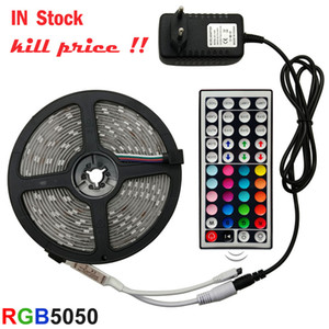 LED Strip Light RGB 5050 SMD 2835 5m 10m 15m flexible Ribbon fita led light strip RGB 5M 10M 15M Fita Diode DC 12V+ telecomando + Adaptador