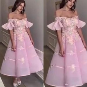pink prom dresses 2020 v neck off the shoulder lace appliques beaded crystal a line tea length evening dresses vestidos de festa longo
