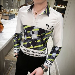 Camisa Masculina Clothes Spring Pattern Print Shirt Baroque Slim Fit Club Shirt Men Camisa Homem Man Long Sleeve