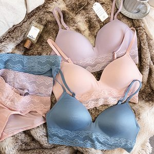 6 colors wire free women sleepwear underwear sets summer lace bra and panty set one-piece ladies Japanese pure color lingerie sets