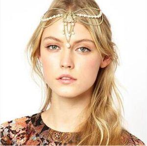 60pcs / lot DIY de oro simple perla de la cabeza de Bohemia borla de la cadena frontlet Taladro cintas para el pelo de peluquería herramientas accesorias HA929