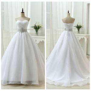 Sweetheart A-Line bianco abiti da sposa 2019 vita di cristallo lace up indietro abiti da sposa abiti da sposa cotta corpetto