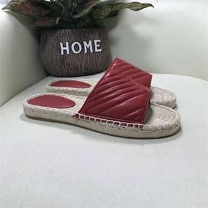 Moda mujeres cubren la Alpargata deslizador de la sandalia de la médula paja Diseñador plataforma de los zapatos de la sandalia de cuero real al aire libre con la caja de los deslizadores de la playa