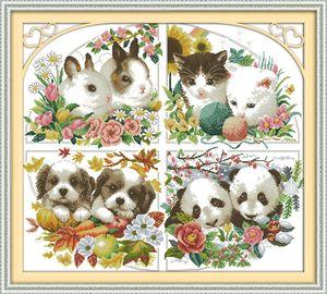 Четыре сезона животных кошка собака панда кролика картины, ручной работы крестом ремесла инструменты вышивания рукоделие наборы подсчитанные печати на холсте DMC 14CT / 11CT