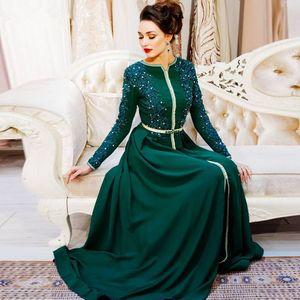 Koyu Yeşil Müslüman Fas Kaftan Abiye Gelin Elbise Of 2020 Uzun Kollu Dantel Aplikler Boncuklu Dubai Suudi Anne