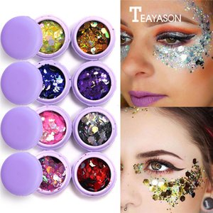 Macaron Metall Lidschatten Laser Pailletten Flash Glitter 3D Augen Make-Up Party Körper Gesicht Bilden Palette