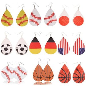Sports PU Leather Earrings Vintage Baseball America german National Flag Football Earring United States Flag flamingo soccer basketball dc2