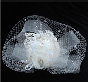 Bayanlar için 2020 Yeni Moda Düğün Gelin Şapkalar Dantel Fascinator Şapkalar Başlıklar Kapak Maske Inciler Çiçek Sahne Parti Kadın aksesuarları