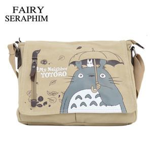 FAIRY SERAPHIM Mon voisin Totoro Messenger sac en toile Impression épaule adolescents Sac Anime Cartoon Totoro Messenger Bag Y200111