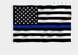 USA Police Flags 3 * 5 Foot Thin Blue Line USA Flag Black White And Blue American Flag With Brass Grommets Banner Flags DC585