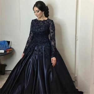 Темно-синие платья Quinceanera Кружева с длинными рукавами Платья для выпускного вечера Бальные платья Мусульманский стиль Кристаллы Вечерние платья Индивидуальные платья vestidos longos