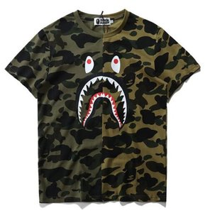 2019 Hot Blue Purple Shark Camo Stitching T-shirt Uomo Donna girocollo in cotone cotone stampato a maniche corte T-shirt Taglie M-2XL