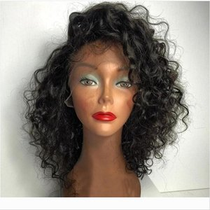 LIN MAN Brazilian Curly Lace Front Wigs with Baby Hair Remy Human Hair Pre-Plucked Hairline Glueless Short BoB Wigs