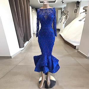 Wear cortos del azul real de manga larga de encaje con cuentas vestidos de longitud de té ocasión especial del partido Vestidos Vestidos personalizada Partido de soirée