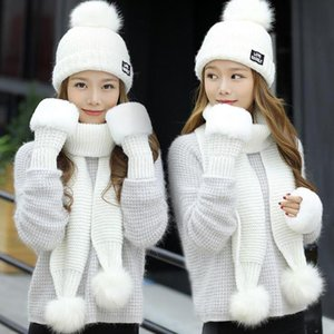 Fashion Woman Winter Hat Scarf Gloves Sets Girls Warm Thick Hat & Glove Set Three - piece Solid Knit Hats Scarf Set For Feamle