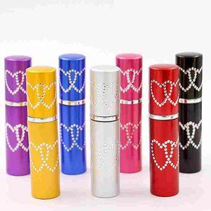 5ML 10ML 더블 러브 하트 여자 향수 병 Atomizer 2 심장 금속 알루미늄 유리 빈 컨테이너 리필 휴대용 선물